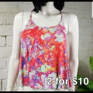 Decree Watercolor Floral Crop Racerback Tank Small